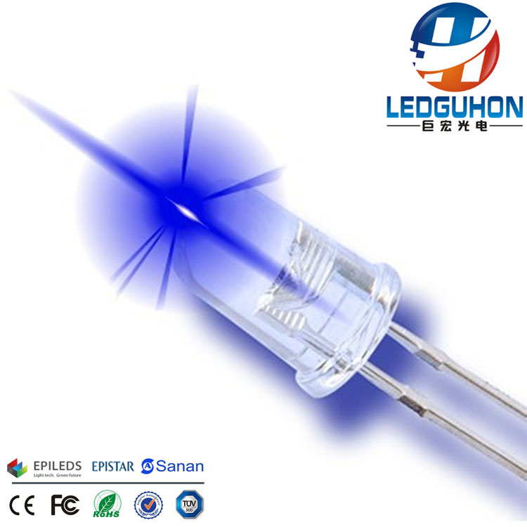 dip transparent lens 5mm blue led diode