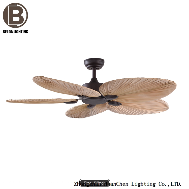 Hot Sale Natural Style Palm Leaf Fan Energy Saving Led Lamp Remote Control Decorative Ceiling Fan Wi