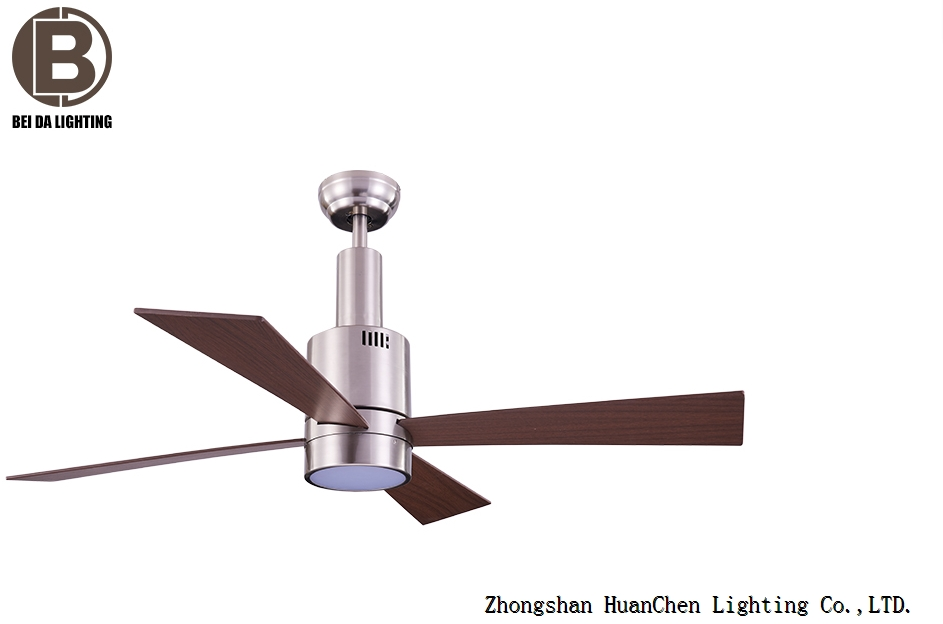 Ceiling fan Makkura nickel brushed maple with remote control 122 cm 48