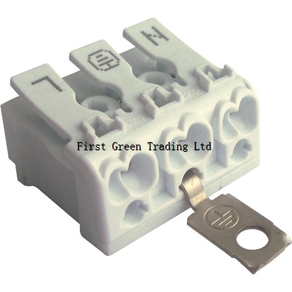 Luminaire Push wire connector 3P With 1-Side Press-Button