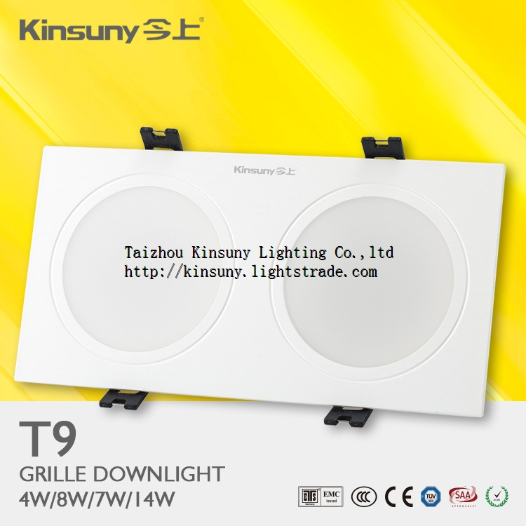 Professional manufacturer dimmable led 2 heads 2x4w China manufacturer led grille light