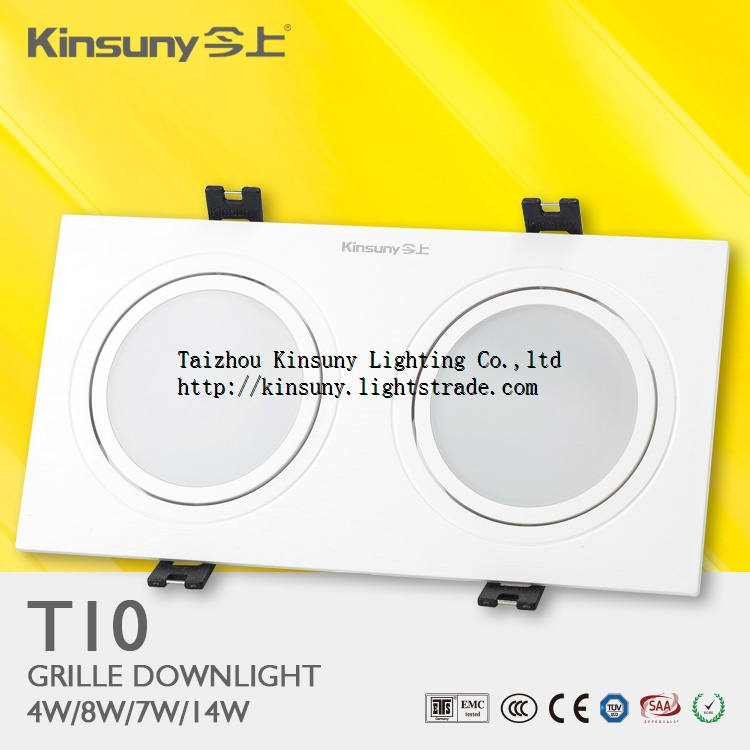 Hot selling Recessed Type Adjustable 2x7w office 2 heads LED Grille Light Zhongshan