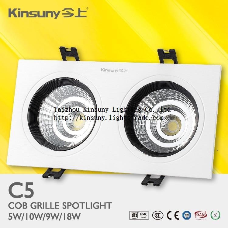 New product black heatsink ip20 ceiling recessed cob led grille light