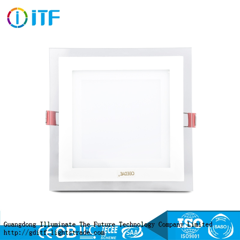Glass materia energy l high beam angle SMD light source indoor squre ceiling light LED panel light