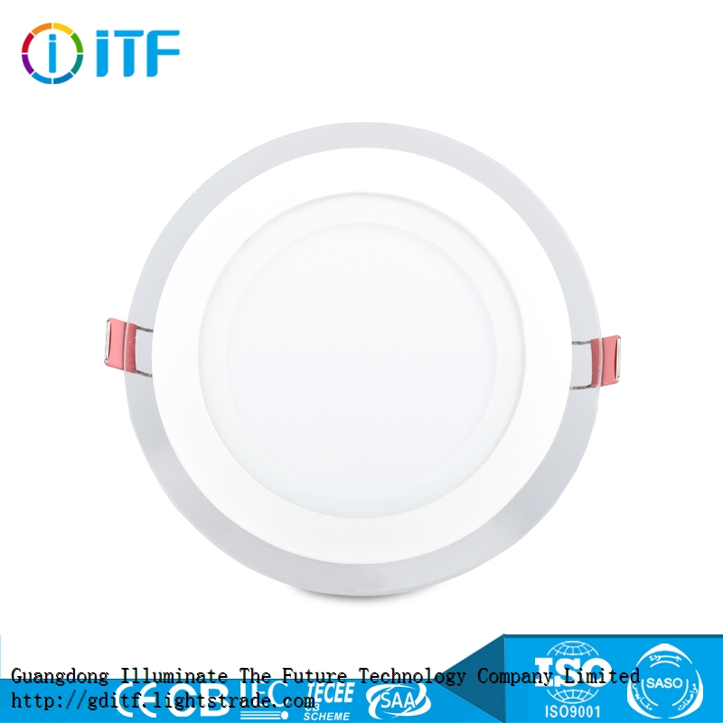 Glass material Energy saving high beam angle SMD light source indoor round ceiling LED panel light