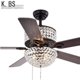 Crystal Ceiling Fan With Light 5 Blades Decorative sample Style