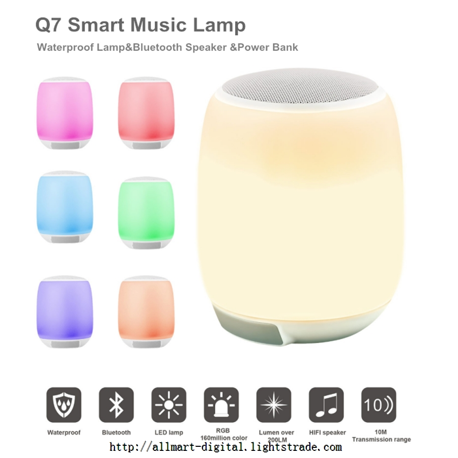 Portable touch lamp with Bluetooth speaker waterproof IP43 built in 6000mAh battery power bank lamp