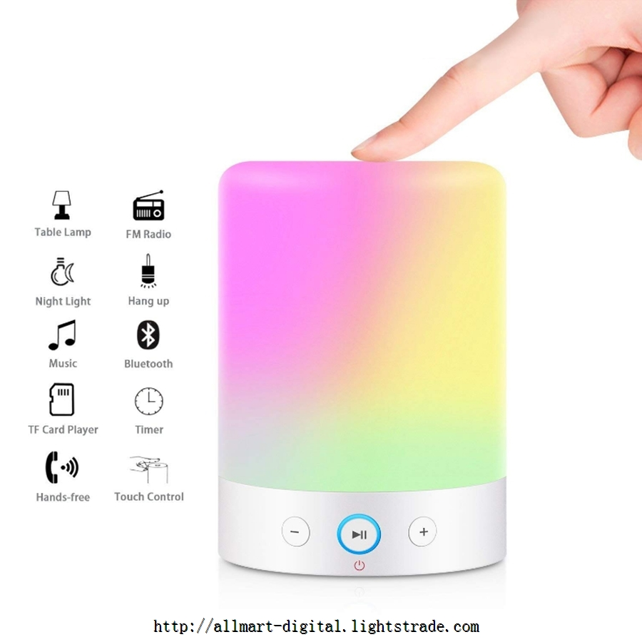 Touch Bedside Lamp with Bluetooth Speaker Dimmable Warm White Table Lamp & RGB Color Changing Lamp