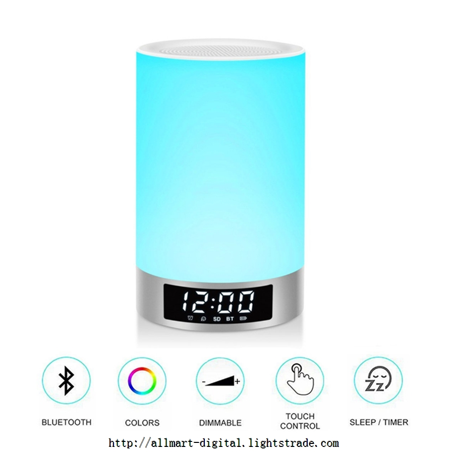 L5 Night light bluetooth speaker alarm clock Wireless Bluetooth Speaker with 7 color LED light