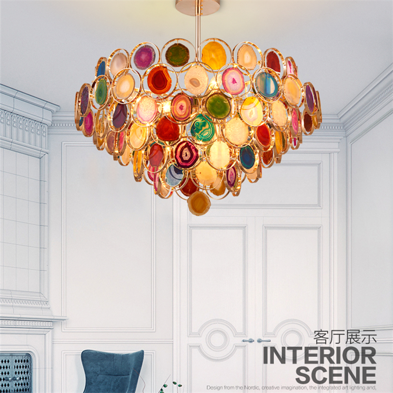 Nordic post-modern living rooms with light agate chandeliers
