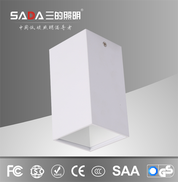 Square 15w surface mounted downlight 24 degree beam angle