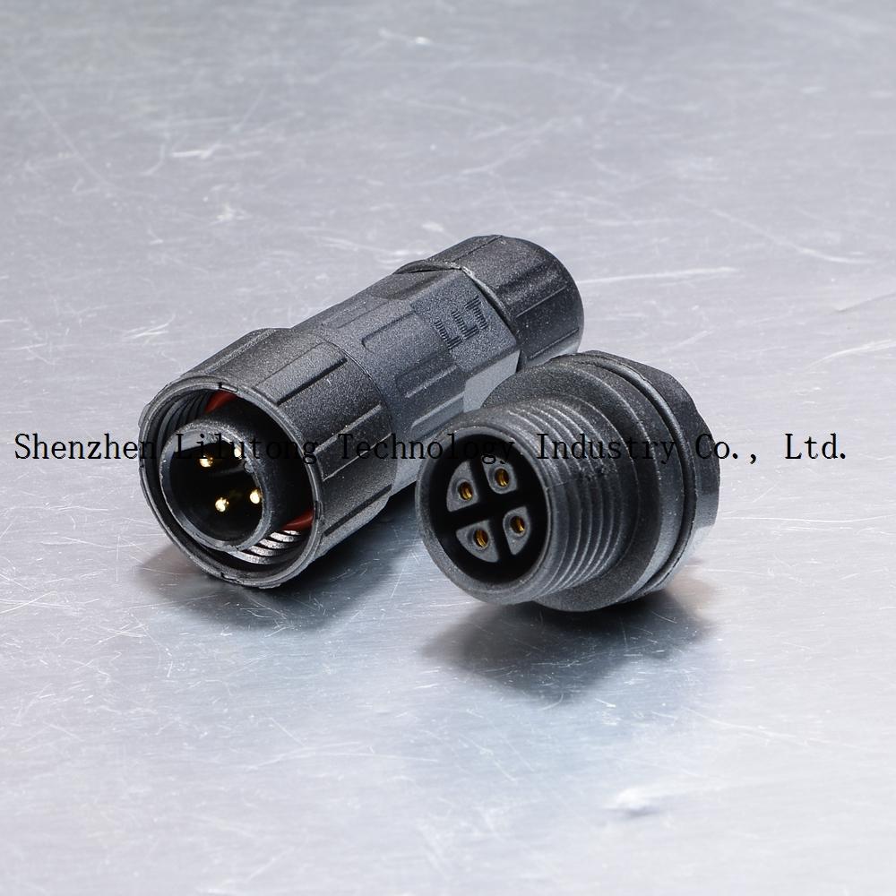 M16 4 pin rear panel mount led street lights connector waterproof