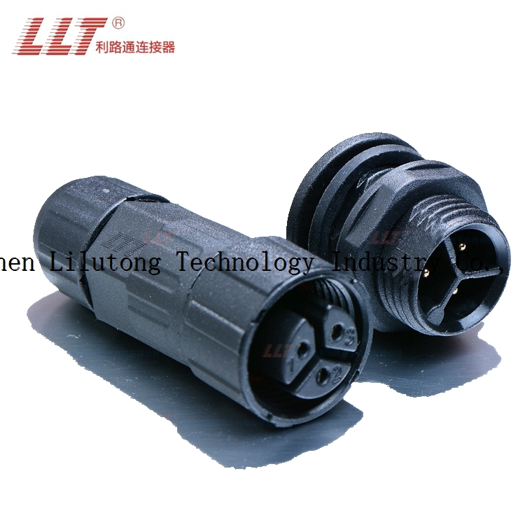 High quality m16 3 pin front panel mount electric bike waterproof connector for cable
