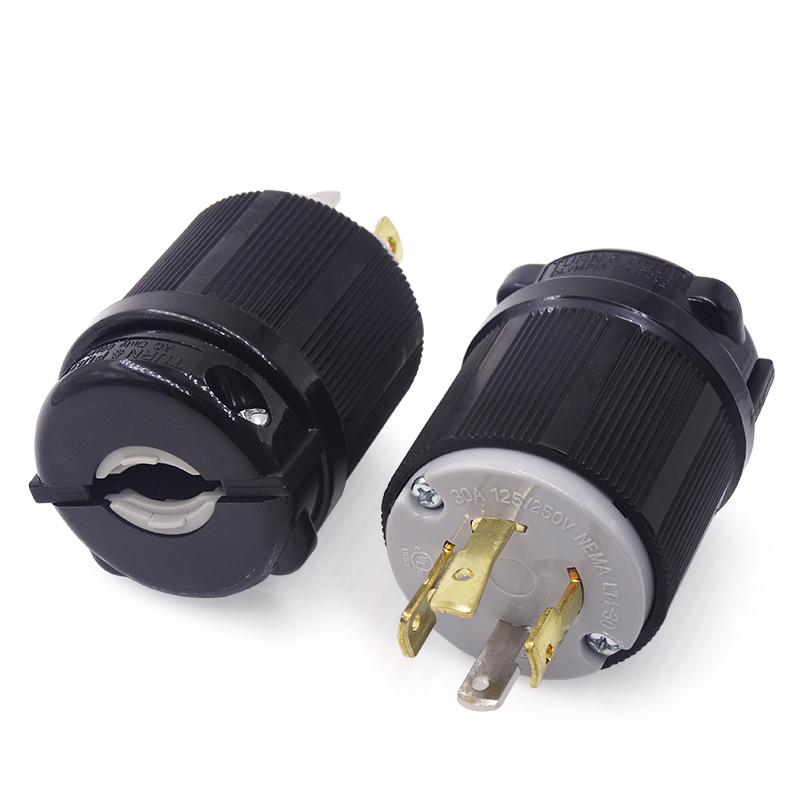 30 Amp 125 250 Volt NEMA L14-20P 3P 4W Locking Plug Industrial Grade Grounding - Black-White
