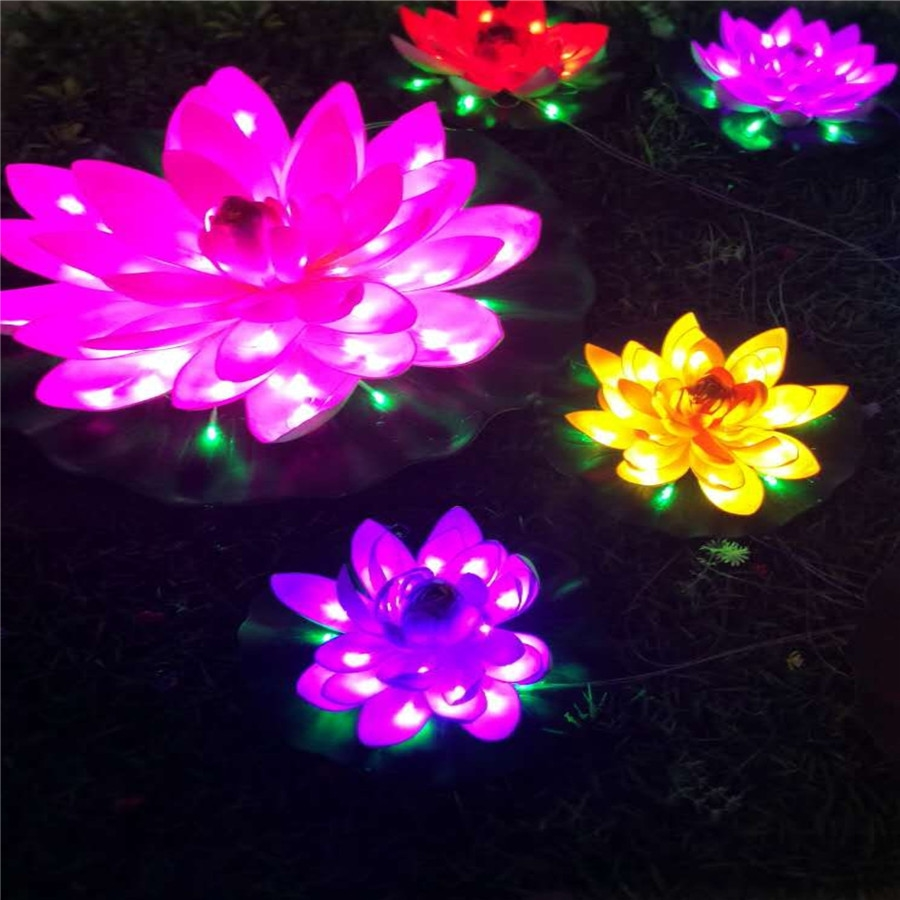 Hot decorative lotus light water light colorful for park from zhongshan
