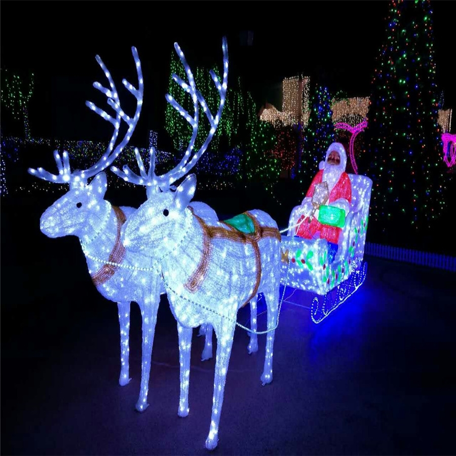Led modeling Santa Claus with deer christmas light project for festival
