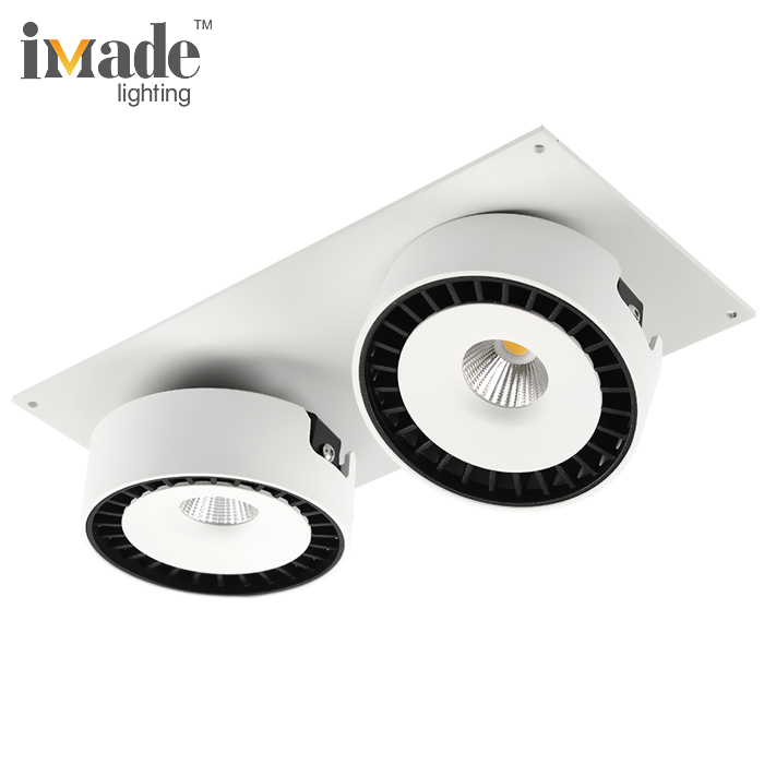 Round Double Heads 4220lm cob 40 350 degree Adjustable 50W Led Downlights