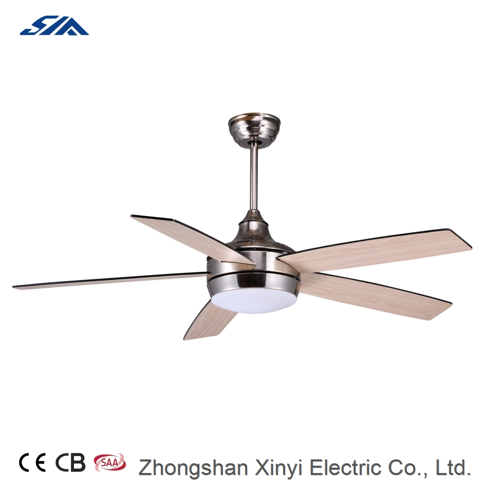 52 inch modern design fashionable decorative lighting ceiling fan with wood blade remote control