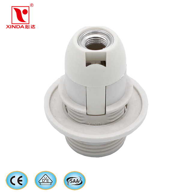 E14 CE plastic lamp holder with ring with 0.75MM2 cable 25CM