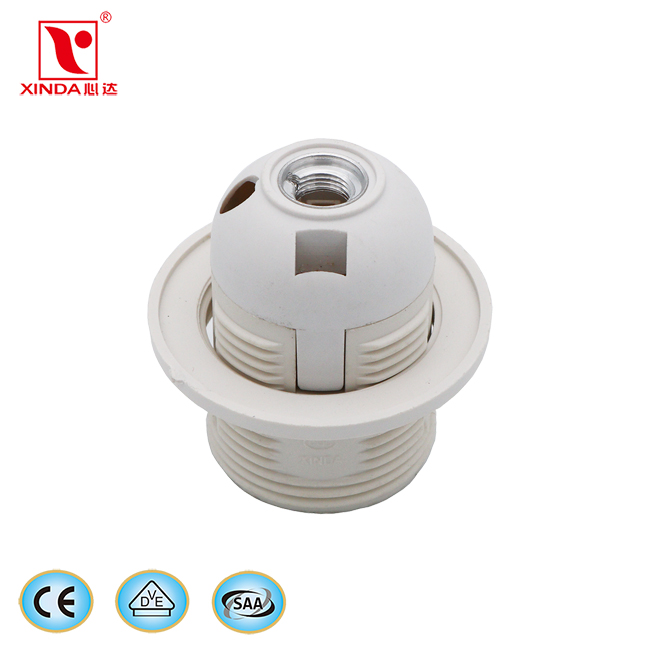 CE CQC VDE E27 White Black plastic E27 Light Socket Bulb holder led plug light kit e27 lamp holder