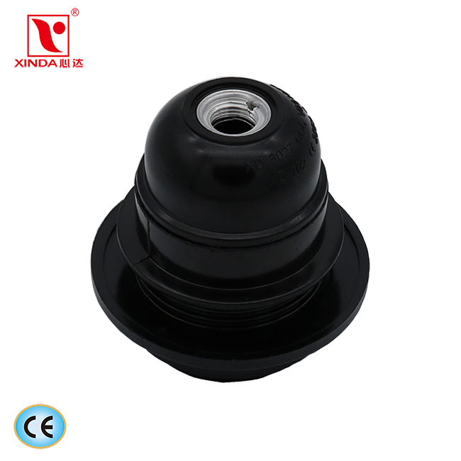 E27 bakelite table lamp holder half-thread with outer ring CE standard:XD-3027A