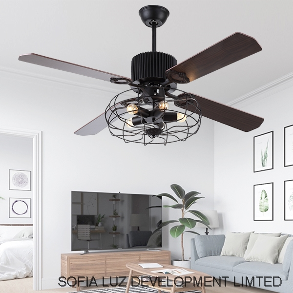 52 Wood Pendant Light LED vintage ceiling fan remote control