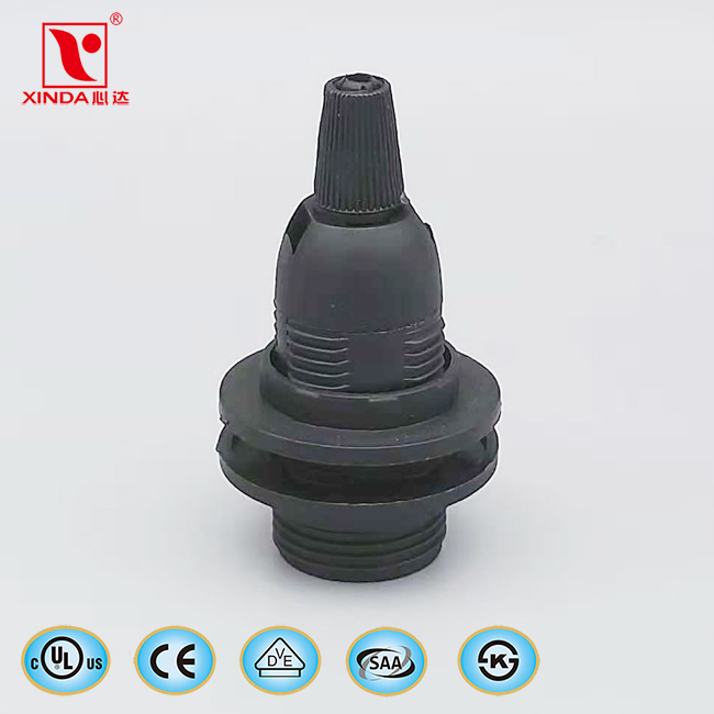 E14 plastic lamp holder with screw cap with ring