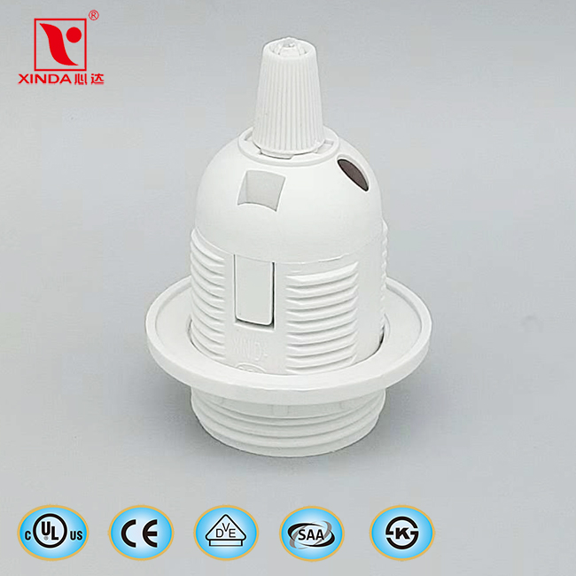 E27 plastic lamp holder with screw cap with 2 rings