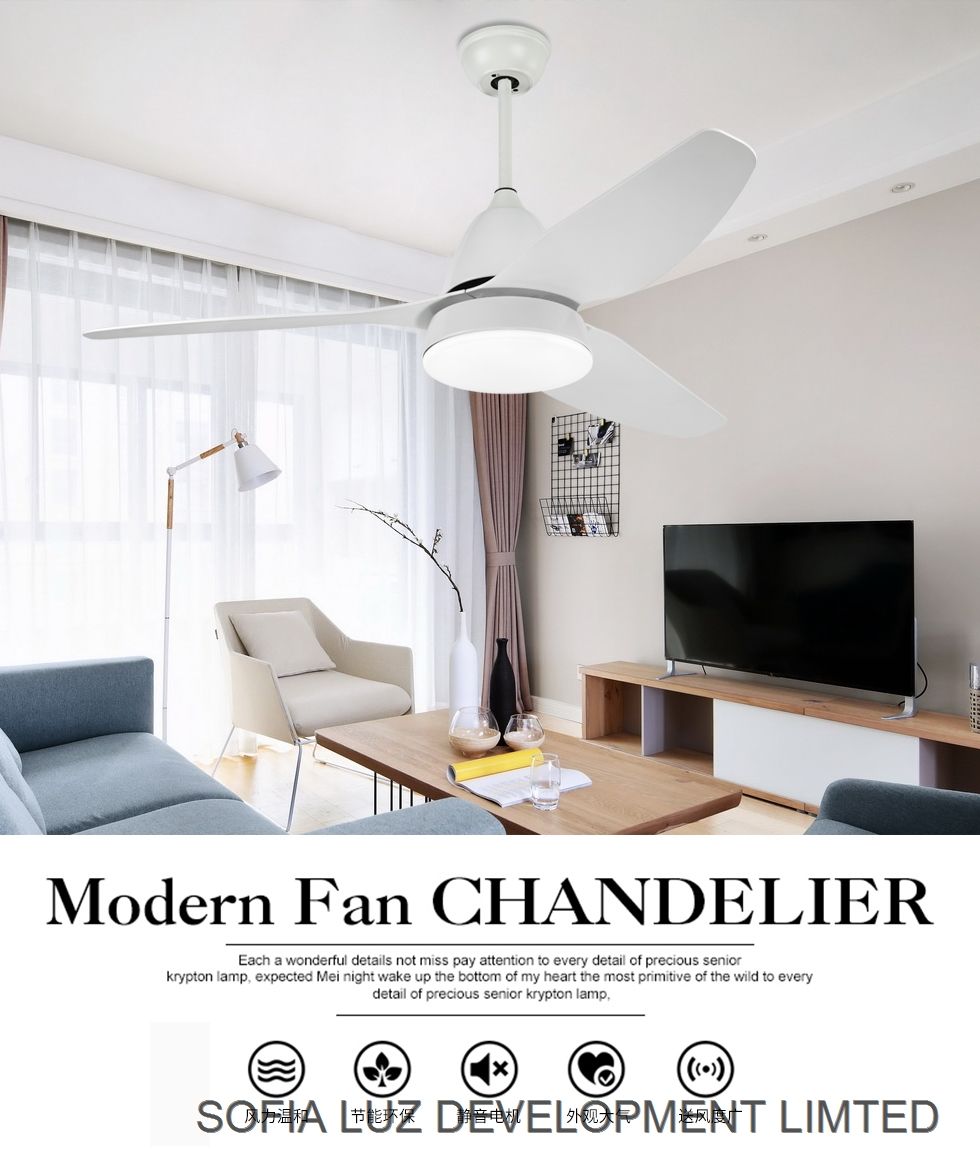 Decorative modern indoor dining room fan lamp