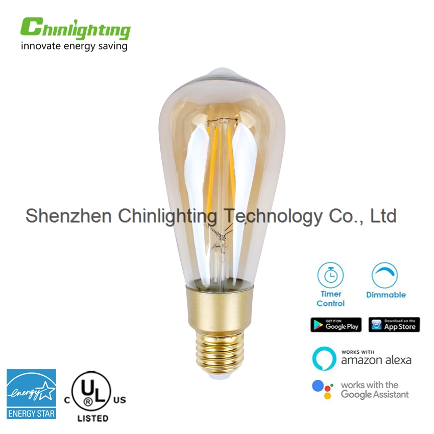 Chinlighting 7W wifi control Warm white Dimmable Home Lighting smart LED filament bulb