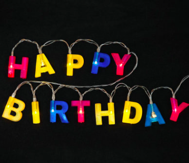 3.5m battery operated happy birthday letter string lights