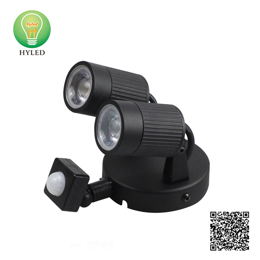 Outdoor double head induction LED wall light with sensor garden lamp
