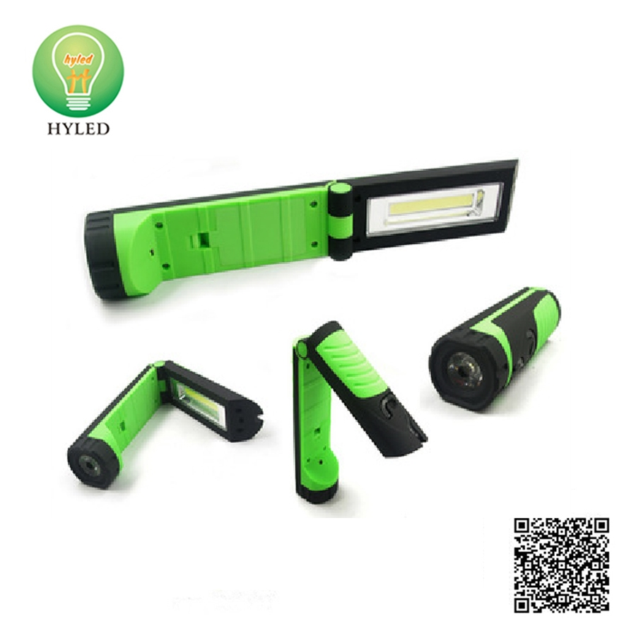 2-in-1 folding plastic 3W LED work light and LED flashlight