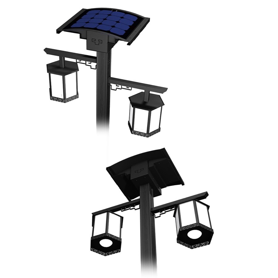 21W LED solar garden light with flexible solar panel
