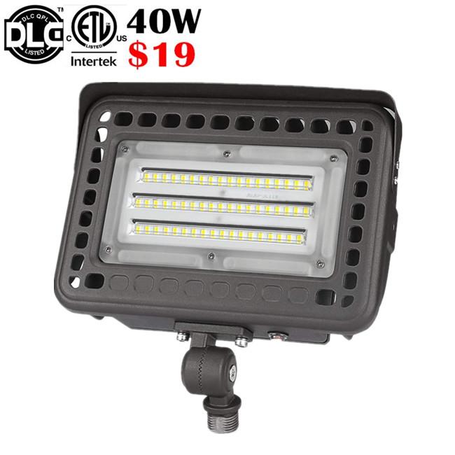 ETL DLC Knuckle mount led flood light 40w 60w 80w 100w Slim USA Canada style floodlight
