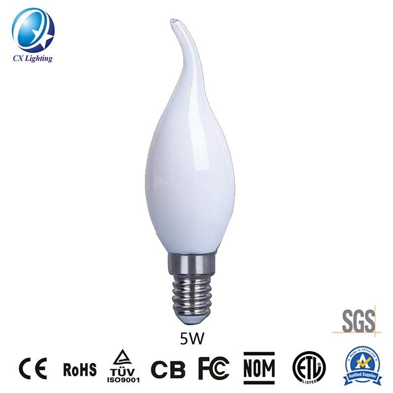 LED Filament Bulb C35 4W E27 B22 600lm Equal 60W milky with Ce RoHS EMC LVD