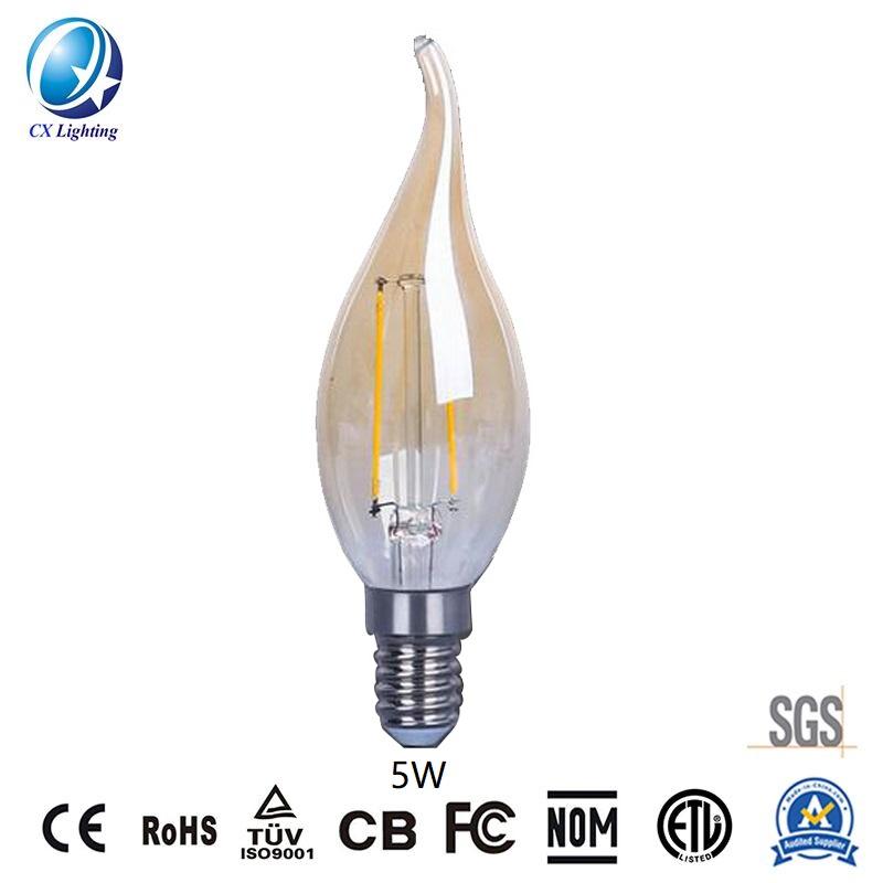 LED Filament Bulb C35 4W E27 B22 600lm Equal 60W Amber with Ce RoHS EMC LVD