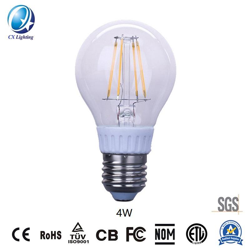 LED Filament Bulb A60 4W E27 B22 480lm Equal 40W Clear with Ce RoHS EMC LVD