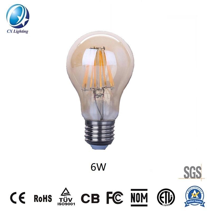 LED Filament Bulb A60 6W E27 B22 480lm Equal 40W Amber with Ce RoHS EMC LVD