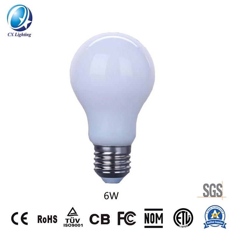 LED Filament Bulb A60 6W E27 B22 480lm Equal 40W milky with Ce RoHS EMC LVD