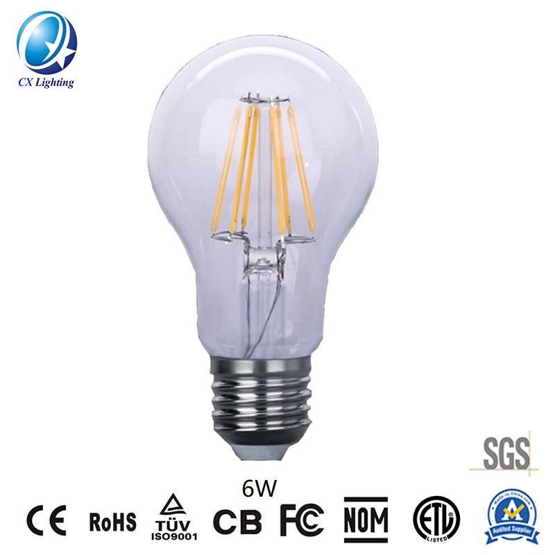 LED Filament Bulb A60 6W E27 B22 480lm Equal 40W Clear with Ce RoHS EMC LVD