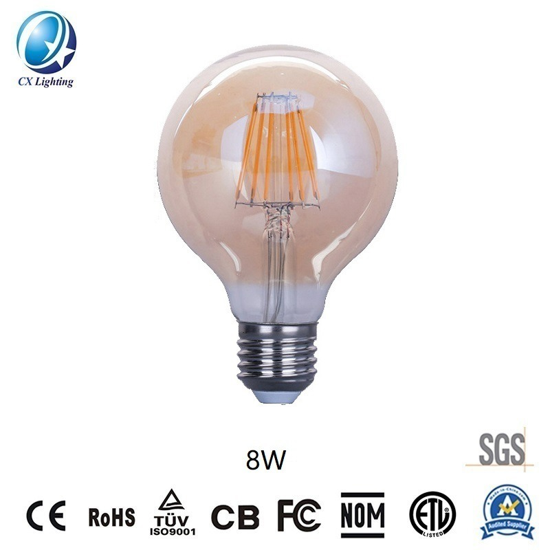 LED Filament Bulb G80 8W E27 B22 960lm Equal 100W Frosted with Ce RoHS EMC LVD
