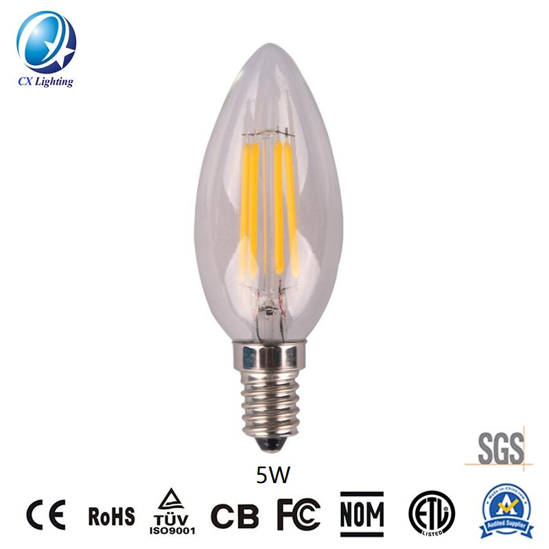 LED Filament Bulb C35 5W E27 B22 600lm Equal 60W Frosted with Ce RoHS EMC LVD