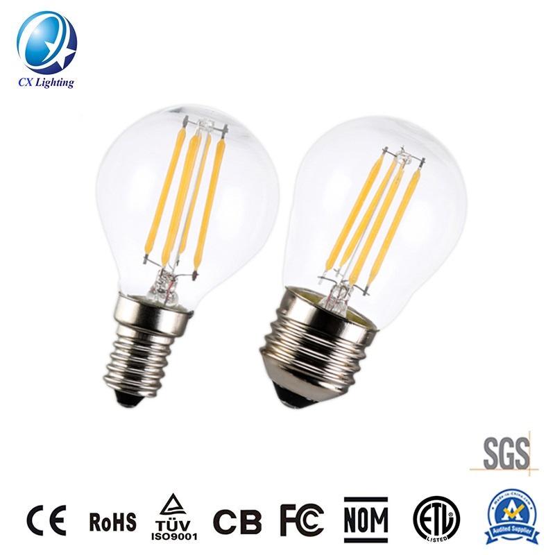 LED Filament Bulb G45 4W E27 B22 600lm Equal 60W Clear with Ce RoHS EMC LVD