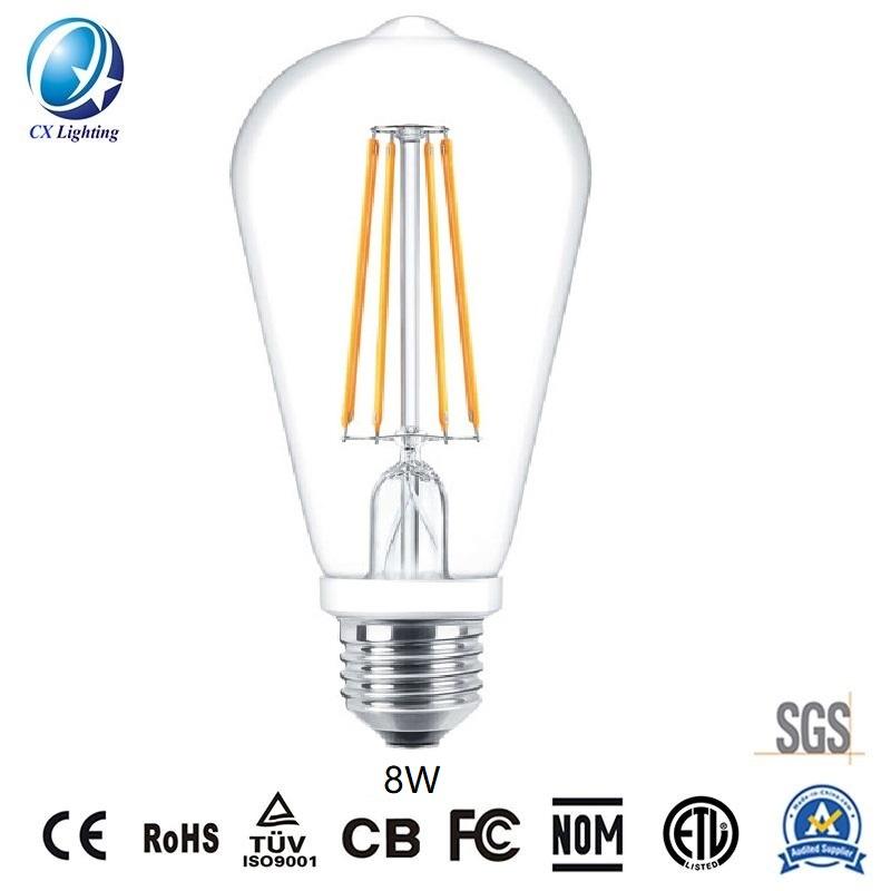 LED Filament Bulb St64 8W E27 B22 960lm Equal 100W Clear with Ce RoHS EMC LVD
