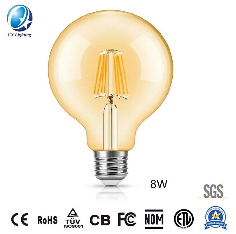 LED Filament Bulb G125 8W E27 B22 960lm Equal 100W Amber with Ce RoHS EMC LVD