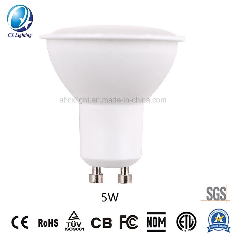 LED Spotlight Lamp GU10 SMD 5W Smooth Surface PC with Aluminum Materials 60 Degree Beam Angle