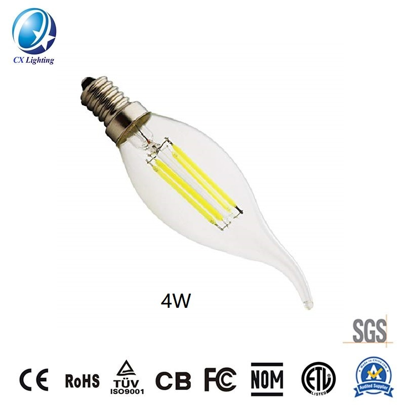 LED Candle Bulb C35t 4W with Curve Tail for Chandelier Lighting