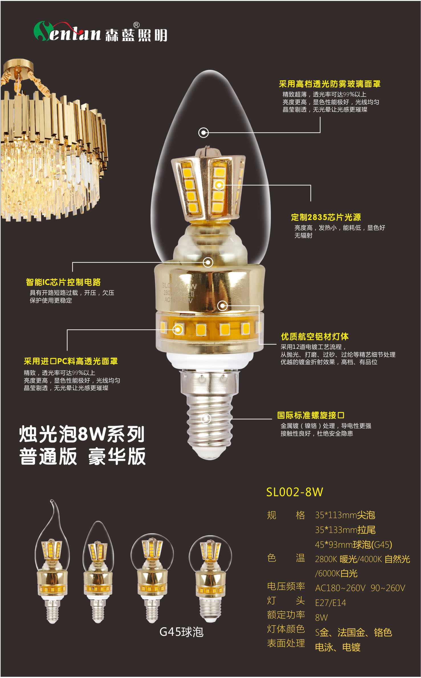 8W Light Luxury Lamp Series