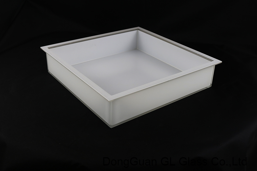 Ceiling lighting decoration flat white painted oem glass for lighting